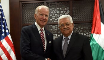 U.S. Vice-President Joe Biden (L) shakes hands with Palestinian President Mahmoud Abbas in the West Bank city of Ramallah March 9, 2016.