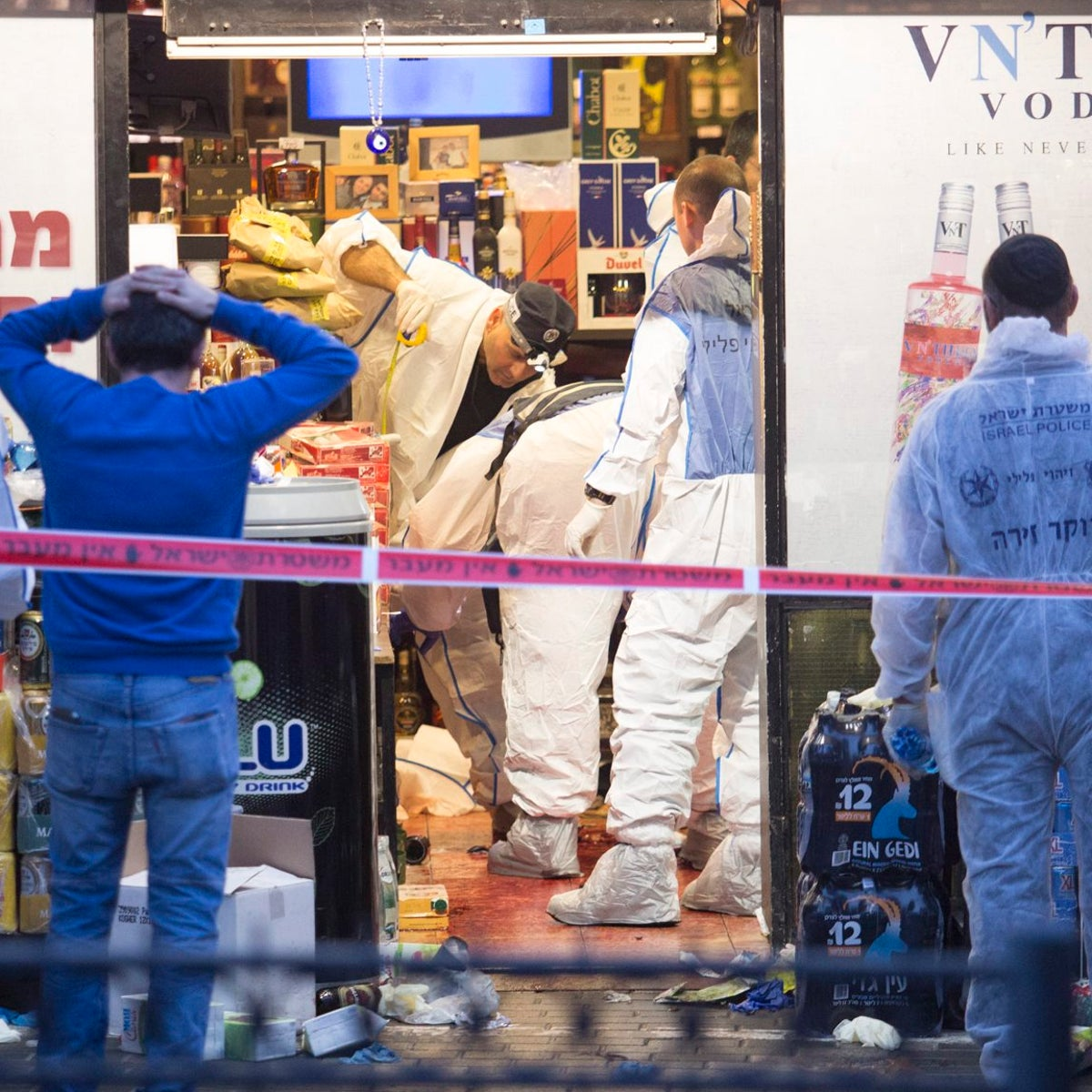 The aftermath of a stabbing attack in a liquor store in Petah Tikva, March 8, 2016.