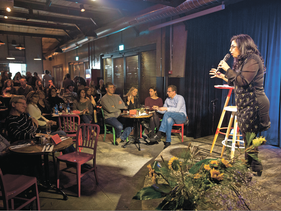 A lecture at the Talkhouse club in Tel Aviv Port.