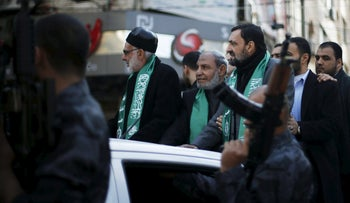 Senior Hamas officials Mahmoud Al-Zahar, Khalil Al-Hayya and Imad Al-Alami in Gaza in 2015.