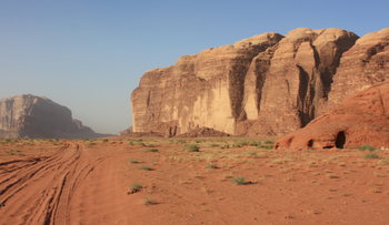 A view of Wadi Rum in the desert of southern Jordan.