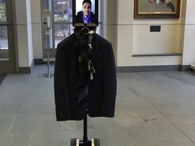 The 'pro-Israel' robot at the event in Brown University, Rhode Island.