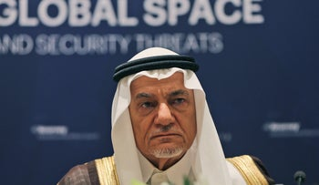 Former director of the Saudi Arabia General Intelligence Directorate, Prince Turki Bin Faisal Al Saud, during a press conference in Abu Dhabi, United Arab Emirates, Sunday, Feb. 21, 2016.