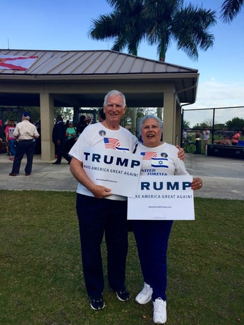 Donald Trump supporters Marie and Leo Gosser stand at the entrance of a pro-Trump rally in Boca Raton, FL. March 13, 2016.