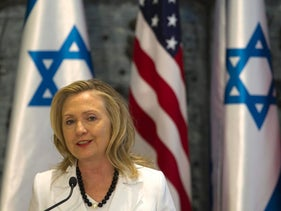 Hillary Clinton addresses the media during a joint statements with Shimon Peres after their meeting in Jerusalem, July 16, 2012.