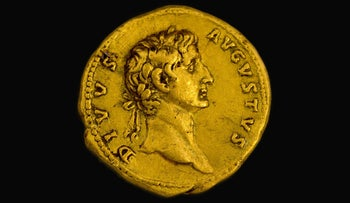 "The rare gold going bearing Emperor Augustus' image, along with the words ""Augustus deified."" The coin was discovered in the Galilee by an Israeli hiker in early 2016."