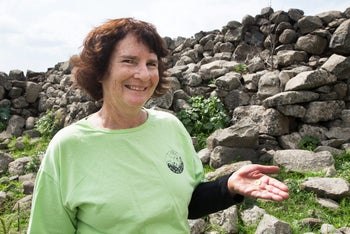 Laurie Rimon, of Kibbutz Kfar Blum, who discovered the rare gold coin bearing the likeness of Emperor Augustus, at an excavation in the Upper Galilee, in early 2016.