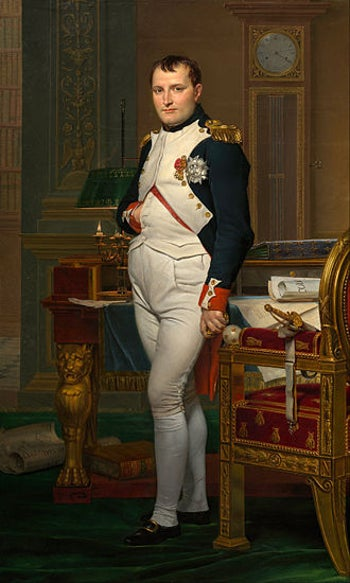 """""""The Emperor Napoléon Bonaparte in His Study at the Tuileries"""", 1812. Napoleon authored the Napoleonic Code and emancipated France's Jews - though he forced them to forgo a lot of debt owed to them by certain communities. Painting by Jacques-Louis David, 1812."""