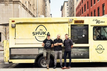 Three Israelis and their New York shakshuka business the Shuka Truck, March 2016.