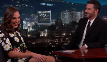 Gal Gadot speaks to Jimmy Kimmel on his show, March 16, 2016.