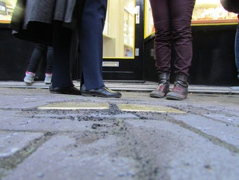 Newly laid tripping stones, commemorating Holocaust victims Salomon van Gelder and Fijtje Fruitman, in The Hague.