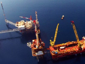 Rigs in the Tanin natural gas field in the Meditarrean Sea, off the coast of Israel.