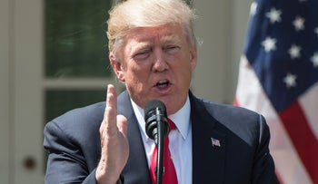 U.S. President Donald Trump speaks at a press conference at the White House on April 5, 2017.