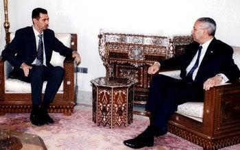 Syrian President Bashar Assad and U.S. Secretary of State Colin Powell, May 3, 2003.