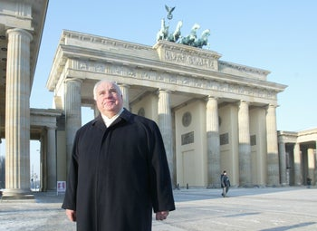 Helmut Kohl passing the Brandenburg Gate during a private walk in Berlin,  Jan. 8, 2003.