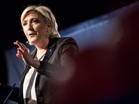 Far-right candidate for the presidential election Marine Le Pen speaks during a campaign meeting in Monswiller near Strasbourg, eastern France, Wednesday, April 5, 2017.