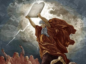 Moses breaks the tablets of the law after coming down from Mount Sinai.