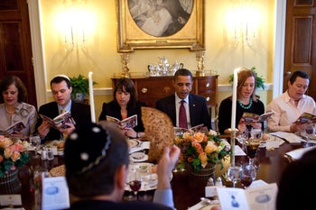 Obama marks the beginning of Passover with a Seder at the White House, March 29, 2010.