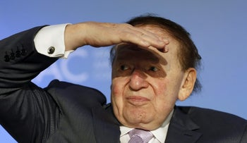 Sheldon Adelson, King of the Jews, at the National Israeli-American Conference in Washington October 19, 2015.