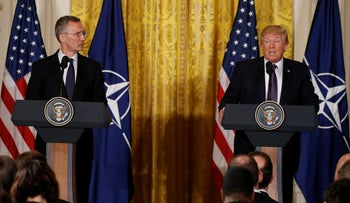 Trump and NATO's Jens Stoltenberg at a joint news conference in the White House, Washington, U.S., April 12, 2017.
