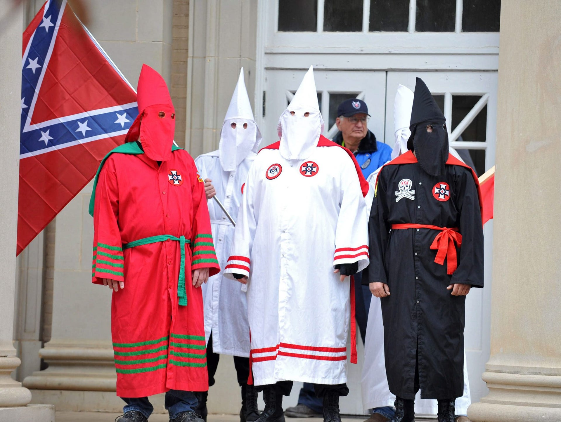 Members of the Ku Klux Klan protest on the steps of Fulton Chapel at the University of Mississippi in Oxford, Miss., Saturday, Nov. 21, 2009.