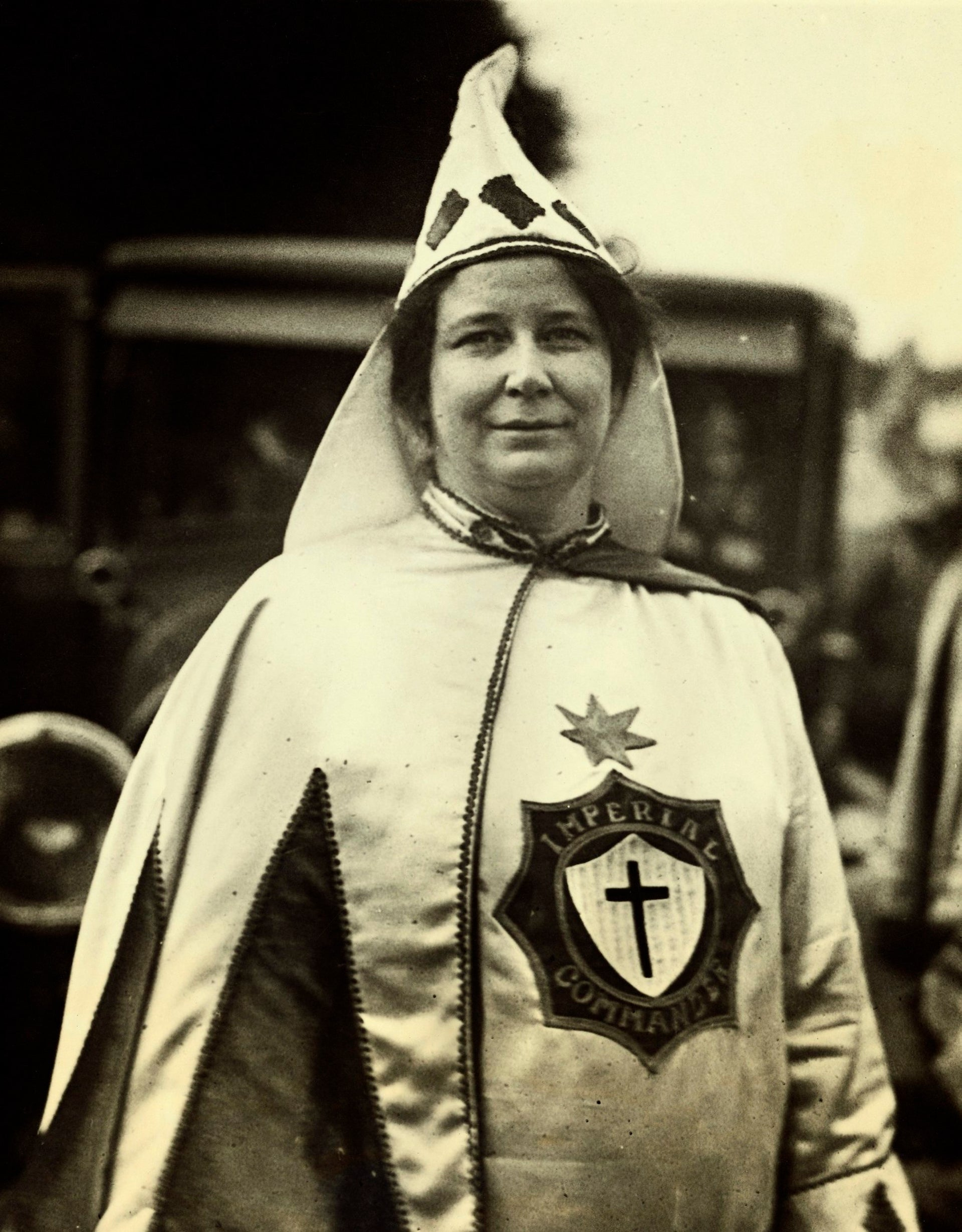 14 Sep 1926, Washington, DC, USA --- Original caption: More than 13,000 participate in the annual parade of the Ku Klux Klan, the costumes of the marchers presenting an attractive picture. Photo shows- Mrs. Robbie Gill Comer, Imperial Commander of the women's division .