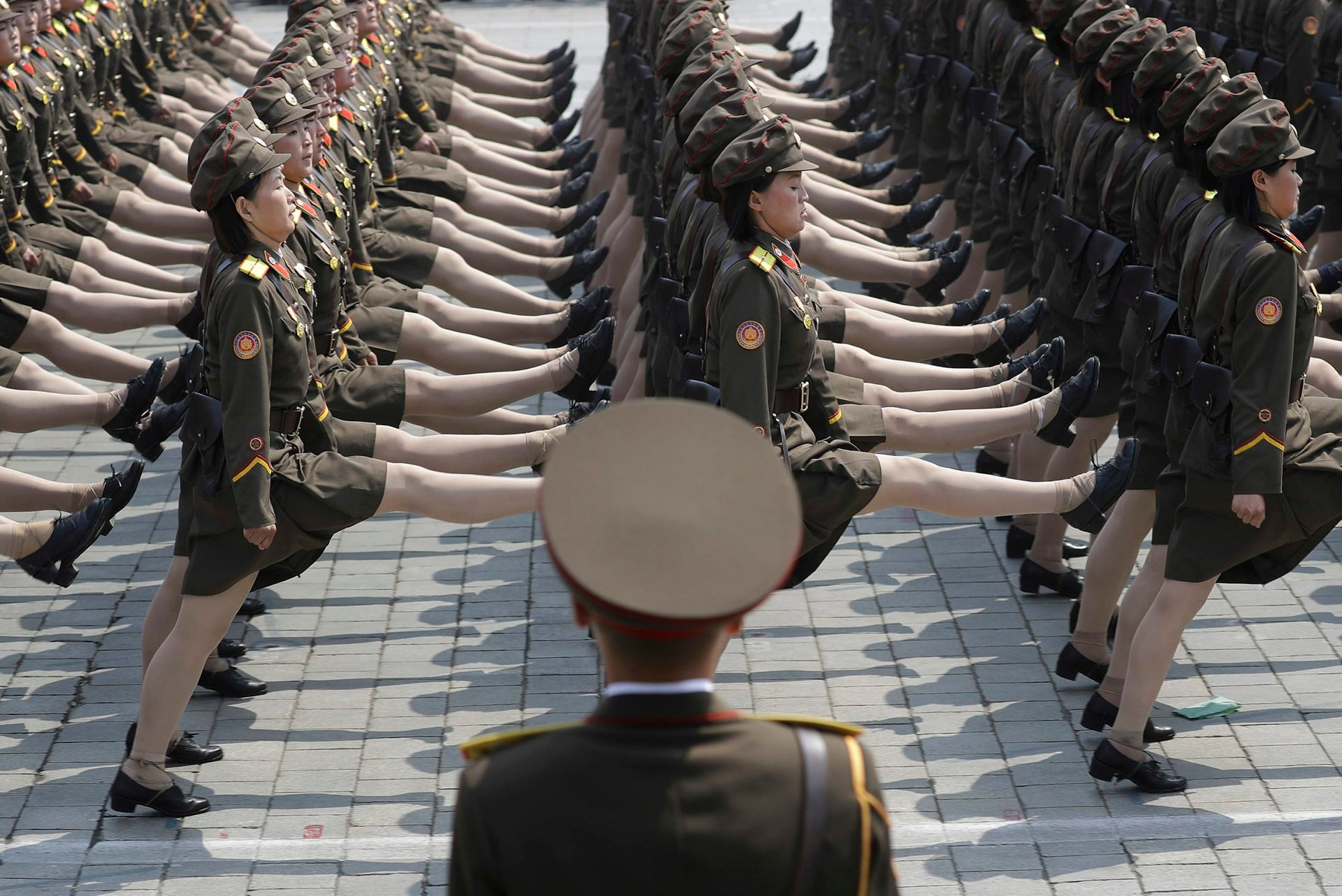 North Korean female soldiers take part in a military parade Saturday in Pyongyang to celebrate the birth of Kim Il-Sung, the country's late founder, April 15, 2017.