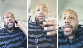 A man who identified himself as Stevie Steve is seen in a combination of stills from a video he broadcast of himself on Facebook in Cleveland, Ohio, U.S. April 16, 2017.