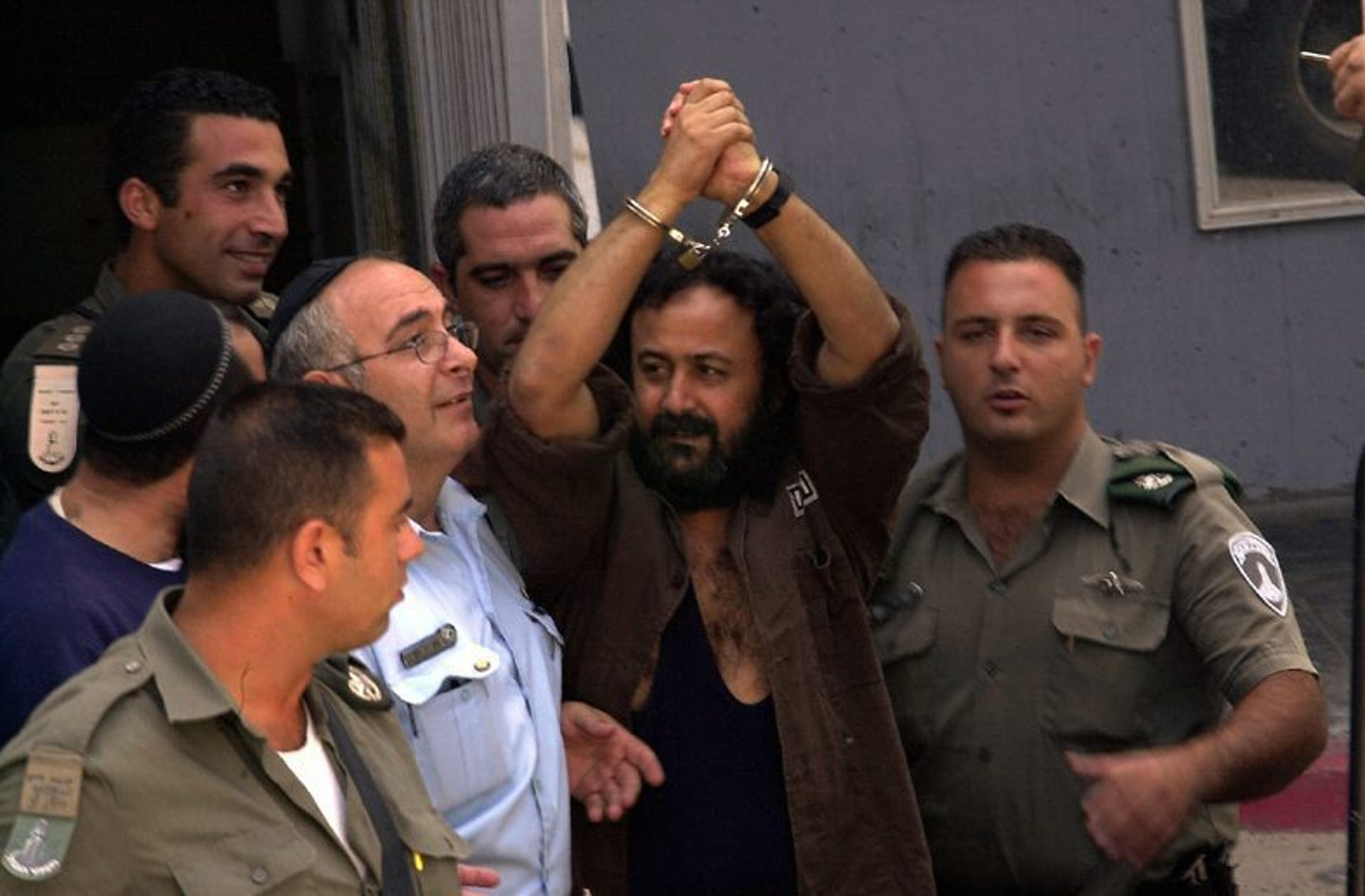 Jailed Palestinian leader Marwan Barghouti appearing in court in 2003.