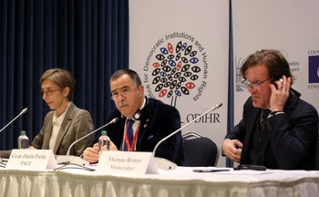 (From L) OSCE Office for Democratic Institutions and Human Rights (ODIHR) mission head in Turkey Tana de Zulueta, ODIHR and the Parliamentary Assembly of the Council of Europe (PACE) Cezar Florin Preda and ODIHR spokesman Thomas Rymer give a press conference Ankara, on April 17, 2017 following the results in a nationwide referendum that will determine Turkey's future destiny.