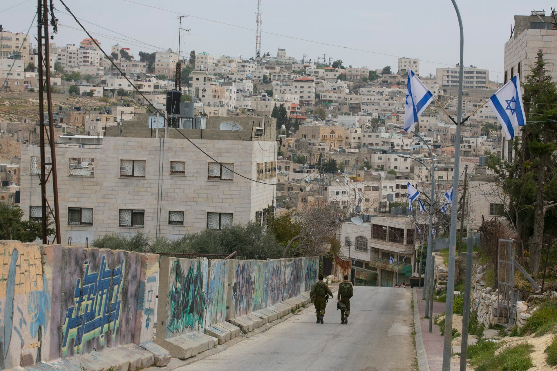 Israeli soldiers in the Israeli-controlled part of Hebron (H2).