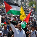 Palestinians take part in a protest in solidarity with Palestinian prisoners held by Israel, in the West Bank town of Bethlehem April 17, 2017.