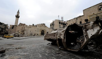FILE PHOTO: A damaged vehicle is pictured in Khan al-Wazeer street, in the Old City of Aleppo, Syria, January 31, 2017.
