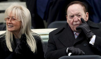 Sheldon Adelson and his wife Miriam at the U.S. Capitol for Trump's inauguration ceremony in Washington, January 20, 2017.