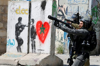 Israeli forces in clashes with Palestinian protesters following a protest in solidarity with Palestinian prisoners held by Israel, in the West Bank town of Bethlehem April 17, 2017.