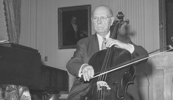 Pablo Casals, 84-year-old world renowned cellist, is shown at the White House Diplomatic Reception Room in Washington, D.C., Nov. 11, 1961.