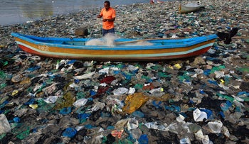A coastline in western India is contaminated with plastic and other nonnonbiodegradable materials.