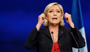 Marine Le Pen, French National Front (FN) political party leader and candidate for the French 2017 presidential election, attends a campaign rally in Marseille, France, April 19, 2017.
