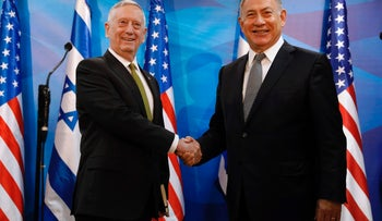 Prime Minister Benjamin Netanyahu shakes hands with US Defense Secretary James Mattis before their meeting in Jerusalem on April 21, 2017.