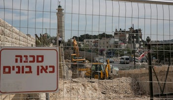 Construction work at the Mount of Olives cemetery, April 24, 2017.