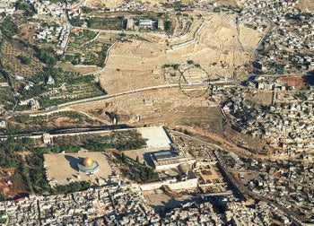 The Mount of Olives cemetery, with the area circled where the construction work is occurring.
