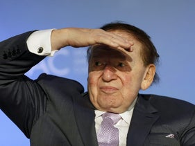 Chairman and CEO of the Las Vegas Sands Corporation Sheldon Adelson looks out at the audience at the National Israeli-American Conference in Washington October 19, 2015.