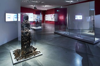 """A view of the """"Cherchez la Femme: Wig, Burqa, Wimple"""" exhibit in the Jewish Museum in Berlin, March 2017."""
