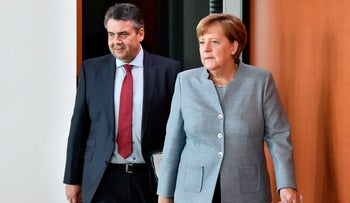 German Chancellor Angela Merkel and Foreign Minister Sigmar Gabriel at a Cabinet Meeting in Berlin on April 26, 2017.