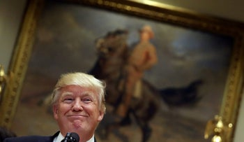 U.S. President Donald Trump speaks in front of a painting of President Theodore Roosevelt during an event with Governors prior to the signing of an executive order on education at the White House in Washington, DC, U.S. April 26, 2017.