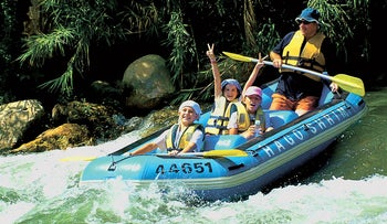 Rafting on the Hatzbani River in the Galilee.
