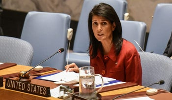 FILE PHOTO - United States Ambassador to the United Nations Nikki Haley delivers remarks at the Security Council meeting on the situation in Syria at the United Nations Headquarters, in New York, U.S,  April 7, 2017.