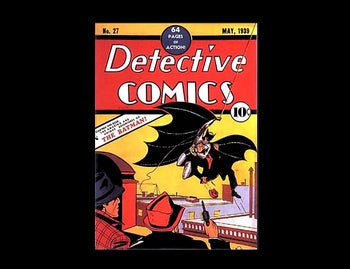 The first Batman comic book cover, DC Comics, May 1939. Note that the sole art credit given is to Bob Kane.