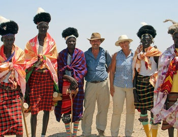 Marta Mirazon Lahr, third from right, Robert Foley, fourth from right, with Turkana tribesmen.