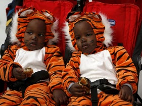 Twins wear costumes as they sit in a buggy during events marking the upcoming Jewish holiday of Purim at the Bialik Rogozin school in Tel Aviv, Israel March 22, 2016.